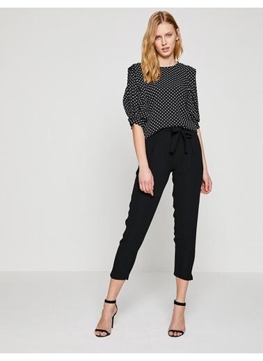 Koton Beli Bağlamalı Kısa Pantolon Siyah